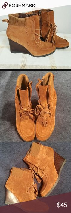 Franco Sarto Westerly Wedge Ankle Bootie Cognac shade with side zip closure.  Leather fringe laces and warm cuff edging.  Shoes have been worn only a few times in excellent condition. Franco Sarto Shoes Heeled Boots