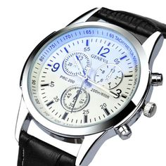 Geneva-Mens-Quartz-Sport-Watch-Stainless-Steel-Leather-Fashion-Wrist-Watches