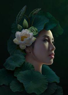 by duong quoc dinh Artistic Photography, Portrait Photography, Vietnam Costume, Bridal Makeup Looks, Portraits, Beautiful Girl Image, Pantone Color, Photo Manipulation, Asian Art