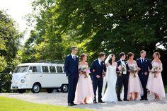 Bridal party with Volkswagen camper van splitscreen classic wedding photographer Castle Dargan sligo wedding car photographer Car Photographers, Photography Career, Wedding Cars, Camper Van, Volkswagen, Castle, Bridal, Couples, World