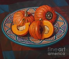 'Pumpkins on Moroccan Platter' oil painting + prints, throw pillows, tote bags at www.fionacraig.com