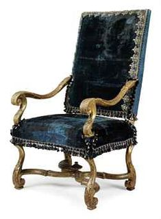 LOUIS XIV BAROQUE CHAIR FRENCH BAROQUE/LOUIS XIV FRENCH RENAISSANCE 1643-1700 ARCHITECTURE: Classical orders, pediments, & mansard roof. INTERIORS: Large scale rooms, marble walls, elaborate, ormolu, Versailles (city of its own), & gold gilding. FURNITURE: Beds were most important-- Flemish scroll, 4 poster (draping was most important), ormolu, marquetry, parquet, caining, & armoire. MOTIFS: Classical, cherubs, cupids, busts, monograms, cartouche.