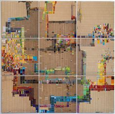 Laurie Frick - Walking Week 26 - Found cut and handmade paper on 6 alumalite panels, x 2012 Map Quilt, Quilts, Different Kinds Of Art, Generative Art, Data Visualization, Textures Patterns, Collage Art, Bunt, Artsy
