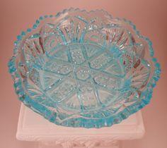 Beautiful Aqua Blue Depression Glass Dish