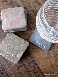 The Painted Home: { SLATE COASTERS }