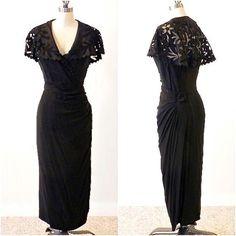 ... Wiggle Dress, 50s Black Cocktail Dress, Cutwork Collar Draped B