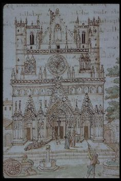 Ms 156, f. 3 - De Tristibus Galliae carmen, Protestants détruisant le portail de la cathédrale Saint Jean de Lyon et pillant ses trésors (Bibliothèque municipale de Lyon, Ms 156)