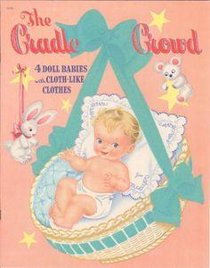 Vintage 1948 Cradle Crowd Paper Dolls Cute Laser Reproduction Orig Size Uncut…