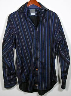 Thomas Dean Button Front Long Sleeve Mens Striped Shirt Size Medium Multi Color #Shopping #Style #Clothing #eBay @eBay! http://r.ebay.com/E7THer