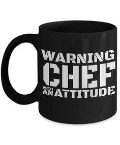 Cook Gift - Chef Mug - Culinary Gifts For Men - Warning Chef With An Attitude  #yesecart  #gifts  gift Idea Diy Best Friend gifts For Guys For Christmas Men Gifts For Guys Boyfriend Valentine's Day