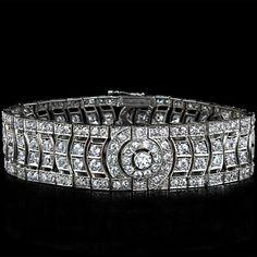 French Art Deco Diamond Bracelet, 1920's.