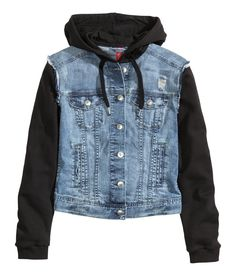 Material-blocked hooded jacket with blue distressed denim & sleeves in sweatshirt fabric. Lined drawstring hood, chest pockets, and adjustable tabs. | H&M Denim