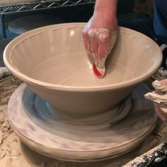 """Making large serving bowls. I use slightly stiffer clay so that I can add in the texture immediately after the bowl is done. When I make a bowl I go for height along with the general shape and then refine the form with my rib. The less trimming at the base the better. This bowl is 13"""" wide x 5"""" tall. Music: Eddie Vedder, """"Tuolumne"""" (from one of my favorite movies and soundtracks, """"Into the Wild"""") #pottery #ceramics #madeinaskutt #stoneware #wheelthrown #cone6 #clay #instapottery…"""