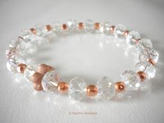 Glass and copper bracelet complete with BB copper flower charm by Baytree Boutique