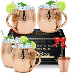 Moscow Mule Copper Mugs with 4 Straws and Shot Glass - Set of 4 HandCrafted Food Safe Pure Solid Copper Mugs - Bonus Highest Quality Copper Shot Glass and 4 Copper Straws - Attractive Box - Gift Options Showcase Solid Copper Mugs, Copper Cups, Copper Moscow Mule Mugs, Pure Copper, Moscow Mule Cups, Best Moscow Mule, Winter Drink, Home Bar Sets, Thank You Teacher Gifts