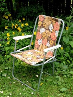 Vintage 1960s 1970s floral camping chair by GoodsGarb on Etsy