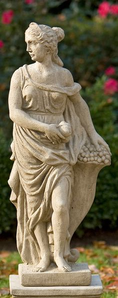 One of the Roman personifications of the four seasons, our Lady Fall Outdoor Sculpture bears the fruits of the recent harvest as she adds a touch of classical elegance your garden and grounds.