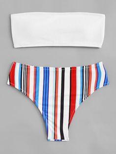 Shop Striped Bandeau Bikini Set online. SheIn offers Striped Bandeau Bikini  Set   more to b7a2e3426f