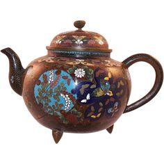 Vintage Japanese Cloisonne Teapot Bird Butterflies from karensfinds on Ruby Lane