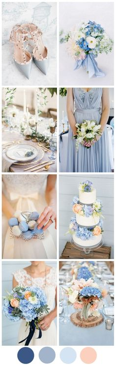 Cornflower Blue & Peach – A Very Sweet Summer Wedding Palette We can't guarantee the weather, but we can guarantee your guests will feel the sunshine with a gorgeous blue and peach wedding palette for your summer celebration! Blue Peach Wedding, Periwinkle Wedding, Summer Wedding Colors, Cornflower Wedding, Blue Hydrangea Wedding, Autumn Wedding, Wedding Themes, Wedding Decorations, Wedding Ideas