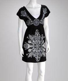 Take a look at this Feathers Black V-Neck Dress on zulily today!