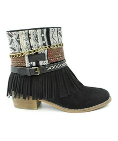 Another great find on #zulily! Black Topa Fringe Ankle Boot #zulilyfinds
