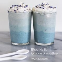 Food, prop & wardrobe stylist and blogger Alison Griśe Wu made this stunning - Ombré Smoothie with Blue Majik, raw coconut, cashew and banana.  - Check out her beautiful creations @alison__wu and her blog www.WuHaus.com #bluemajik #phycocyanin #e3live #bluealgae #vegan #rawfood