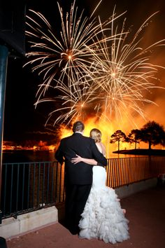 We're blown away by this gorgeous couple and dazzling fireworks display at Epcot's IllumiNations: Reflections of Earth #wedding #Disney #Epcot