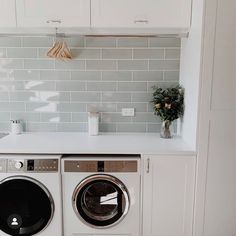Finish laundry my husband renovated! Bunnings Laundry, Garage Laundry, Basement Laundry, Laundry Area, Basement Bathroom, Laundry Bathroom Combo, Laundry Room Inspiration, Blue Furniture, Upstairs Bathrooms