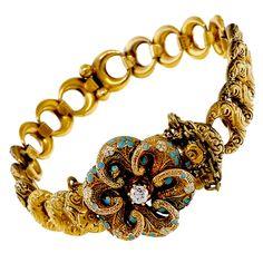 Krementz Victorian Blue Enamel Old European Diamond Gold Bracelet | From a unique collection of vintage retro bracelets at https://www.1stdibs.com/jewelry/bracelets/retro-bracelets/