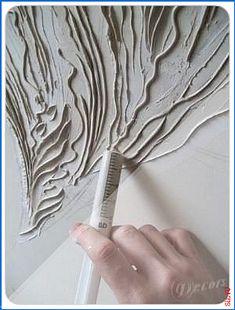 Acrylmasse im Flachrelief von Hercio Dias hinauf die Spritze aufgetragen Plaster Art, Plaster Walls, Plaster Crafts, Painting Tips, Painting Walls, Painting Textured Walls, Creative Wall Painting, Acrylic Paintings, Painting Art