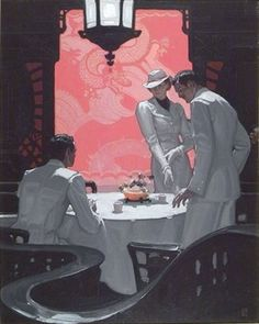View Confrontation in a Chinese tea room illus. for American Magazine by Mead Schaeffer on artnet. Browse upcoming and past auction lots by Mead Schaeffer. Illustration Artists, Illustrations, Digital Illustration, Painting Inspiration, Art Inspo, Chinese Tea Room, Art Tutor, How To Make Drawing, Pretty Drawings