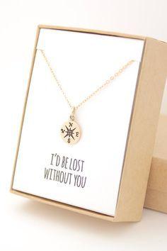 Geschenk Beste Freundin - Tattoo Compass Girl Etsy New Ideas - Cute Jewelry, Diy Jewelry, Gold Jewelry, Jewelry Gifts, Jewelry Box, Jewelry Holder, Handmade Jewellery, Jewelry Stores, Fashion Jewelry
