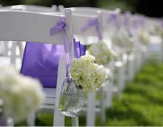 wedding ceremony decorations: hydrangea, mason jar, ribbon
