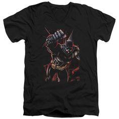 BATMAN/CRIMSON KNIGHT - S/S ADULT V-NECK - BLACK -