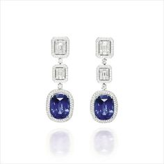Important sapphire and diamond pendent earrings