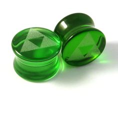 "Triforce Green Glass Plugs 2g (6mm) 0g (8mm) 00g (9mm) (10mm) 7/16""... ($15) ❤ liked on Polyvore featuring jewelry, piercings, plugs, earrings, gauges, accessories, green glass jewelry, engraved jewelry, green jewelry and glass jewelry"