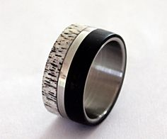 Wedding band titanium inlaid with deer antler and by ringordering, $240.00