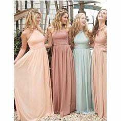 Romantic Halter Chiffon Floor-length cheap sleeveless long Bridesmaid dresses , BD0436#bridesmaids #bridesmaiddress #bridesmaiddresses #dressesformaidofhonor #weddingparty #2020bridesmaiddresses Ruffles Bridesmaid Dresses, Teenage Bridesmaid Dresses, Prom Dresses, Long Dresses, Cheap Dresses, Halter Dresses, Bridesmaid Dresses Mismatched Pastel, Formal Dresses, Braids Maid Dresses