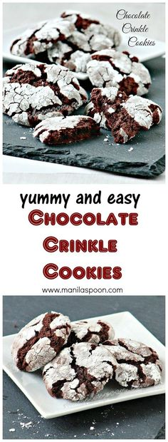 Fudgy, chewy, sweet and oh so yummy - Chocolate Crinkle Cookies So easy to make . Fudgy, chewy, sweet and oh so yummy - Chocolate Crinkle Cookies So easy to make as well. Please enjoy. Mini Desserts, Cookie Desserts, Christmas Desserts, Chocolate Desserts, Just Desserts, Cookie Recipes, Dessert Recipes, Christmas Cookies, Recipes Dinner