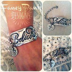 Time to Believe-Molten solder, hand stamped, cuff, believe