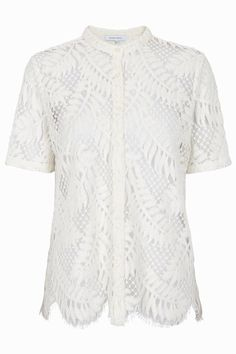 Super soft lace shirt with short sleeves and button down front. Superb palm leaf lace design to be worn as is or why not try it open over a singlet with your favorite jeans?    Fits true to size Lace Shirt by Second Female. Clothing - Tops - Short Sleeve France