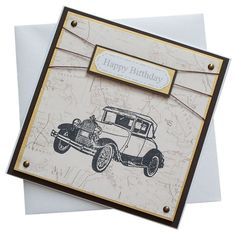 Handmade Old Car On a Map Birthday Card