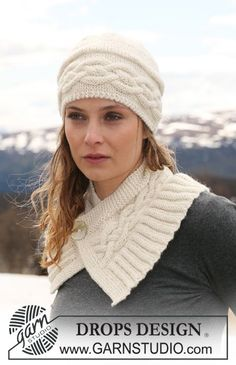 """DROPS hat with cables and neck warmer with cables and buttoned at front in """"Classic Alpaca"""". ~ DROPS Design"""