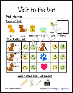 Vet Clinic Dramatic Play activity with printables