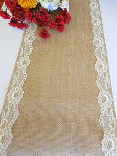 Burlap and lace table runner rustic wedding table runner wedding decor bridal shower party decoration