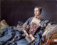 """""""Portrait der Madame de Pompadour"""" (um 1750) von François Boucher (geboren am 29. September 1703 in Paris, gestorben am 30. Mai 1770 ebenda), französischer Maler, Zeichner, Kupferstecher, Dekorationskünstler, Hofmaler von Ludwig des XV und Günstling von Madame de Pompadour."""