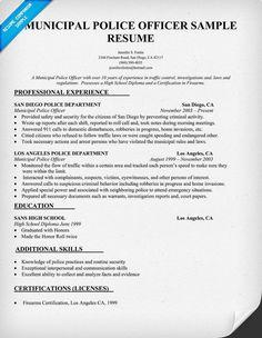 police officer resume - Police Officer Resume