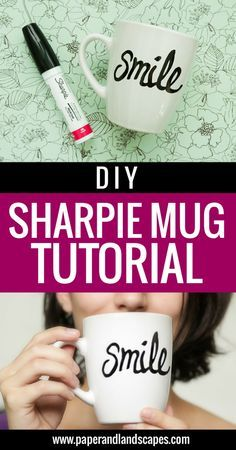 DIY Sharpie Mug Tutorial - Paper and Landscapes - I've always wanted to try this DIY, and I finally did! Check out this easy step by step tutorial to make your own Sharpie Mug.
