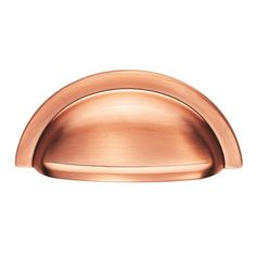 satin brushed copper half moon shaped cup drawer pull handle screw centres by fingertip design Drawer Hardware, Drawer Handles, Door Handles, Pull Handles, Kitchen Cabinet Handles, Kitchen Hardware, Kitchen Cabinets, Copper Cups, Copper Kitchen